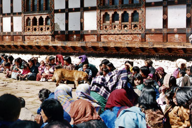 Villagers await the festival start