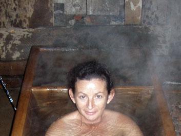 Sheila enjoys hot stone bath