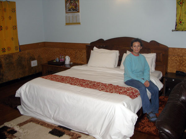 Sheila in hotel room