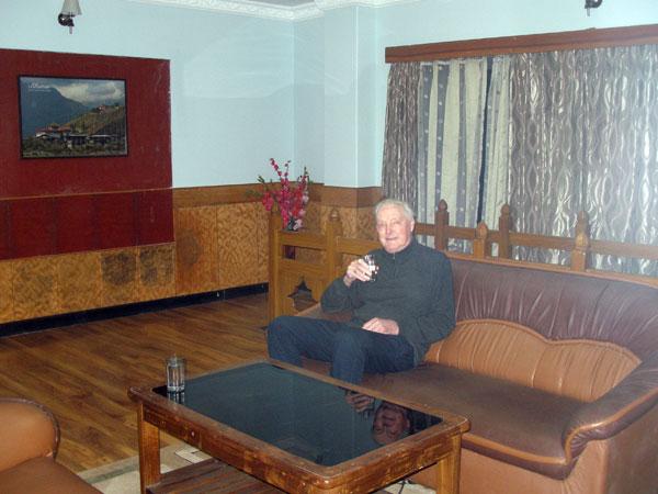 Derek in hotel suite