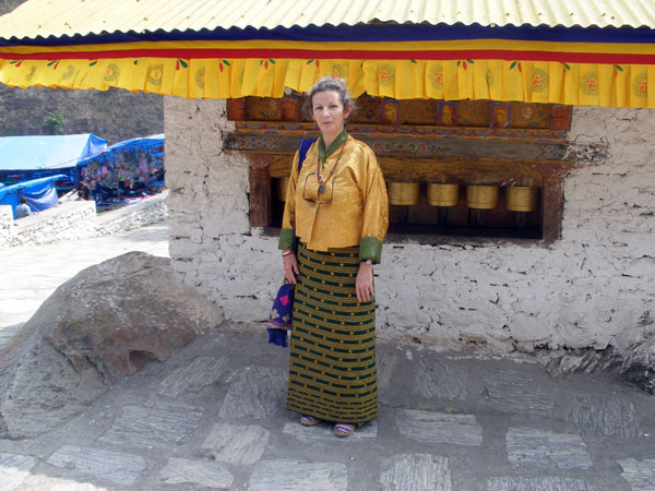 Sheila in traditional Bhutanese dress