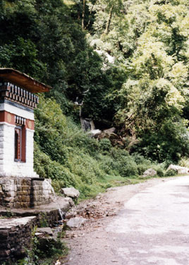 Roadside water prayer wheel & waterfall
