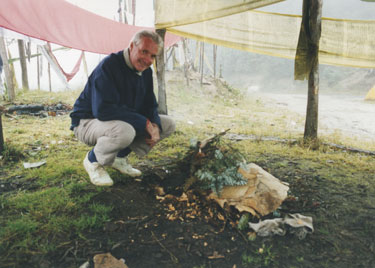 Lighting a fire at the summit of the pass