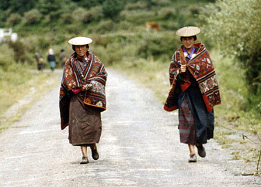 Ladies with traditional hats in Bumthang