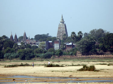 Mahabodhi temple from across the river