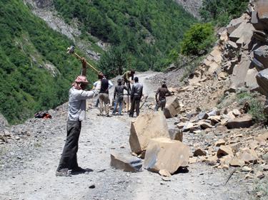 Clearing a landslide