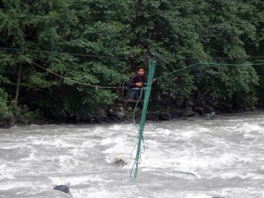 Man crossing river