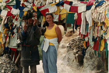 Prayer flags and pilgrim