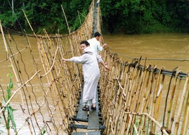 Sheila on rope bridge