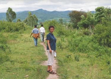 Sheila trekking on island