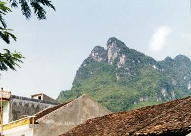 Hill behind village