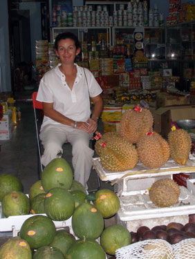 Sheila with durian